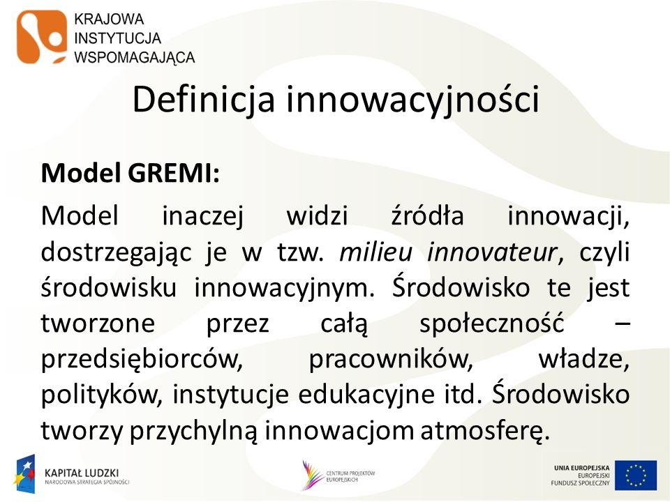 Definicja innowacyjności Model GREMI: Model inaczej widzi źródła innowacji, dostrzegając je w tzw. milieu innovateur, czyli środowisku innowacyjnym. Ś