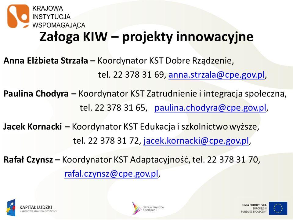 Załoga KIW – projekty innowacyjne Anna Elżbieta Strzała – Koordynator KST Dobre Rządzenie, tel. 22 378 31 69, anna.strzala@cpe.gov.pl,anna.strzala@cpe