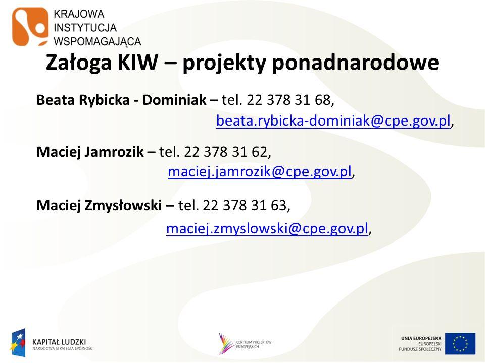 Załoga KIW – projekty ponadnarodowe Beata Rybicka - Dominiak – tel.