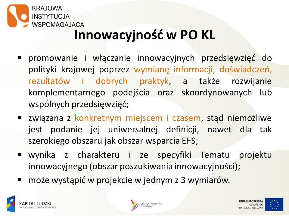 Grupy docelowe projektów innowacyjnych (3) Wymiary przedstawiania grupy odbiorców w projekcie innowacyjnym: Wymiar docelowy wszyscy ci, którzy potencjalnie będą mogli skorzystać ze wsparcia z zastosowaniem nowego narzędzia już po jego włączeniu do polityki.