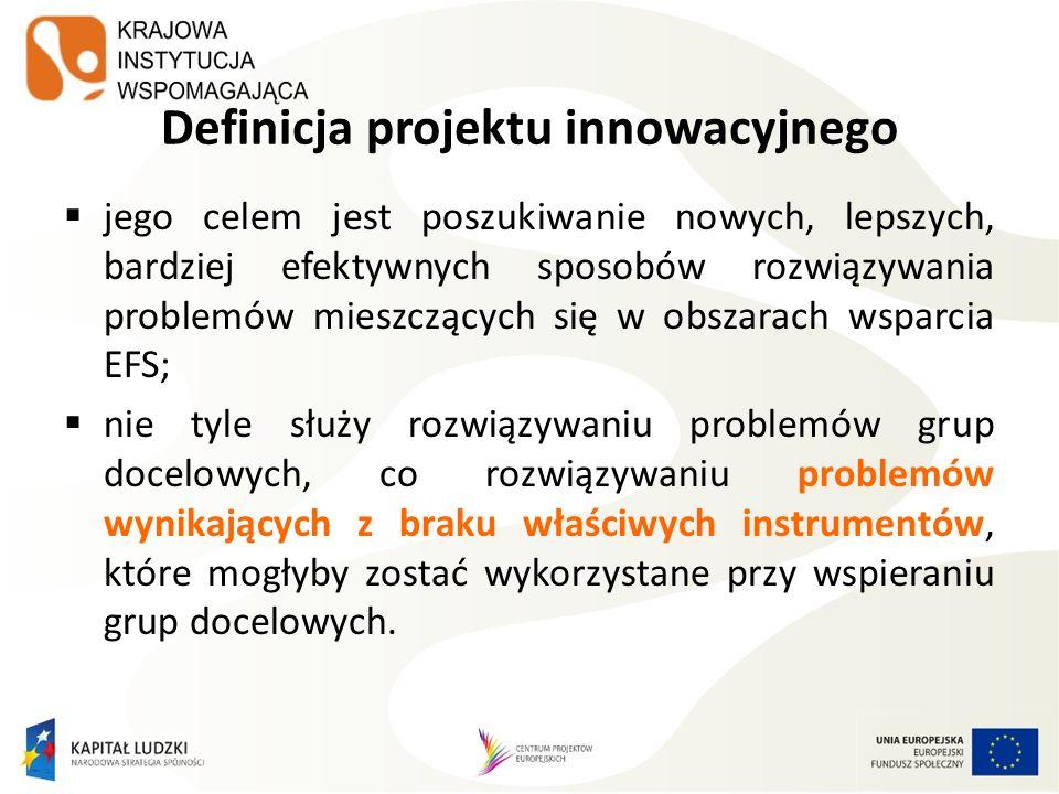 Definicja projektu innowacyjnego testującego (PIT) jego celem jest wypracowanie, upowszechnienie i włączenie do głównego nurtu polityki nowych rozwiązań; nastawiony na badanie i rozwój oraz upowszechnianie i włączanie do praktyki konkretnych produktów, służących rozwiązaniu problemów grup docelowych, a nie wprost na rozwiązanie tych problemów.