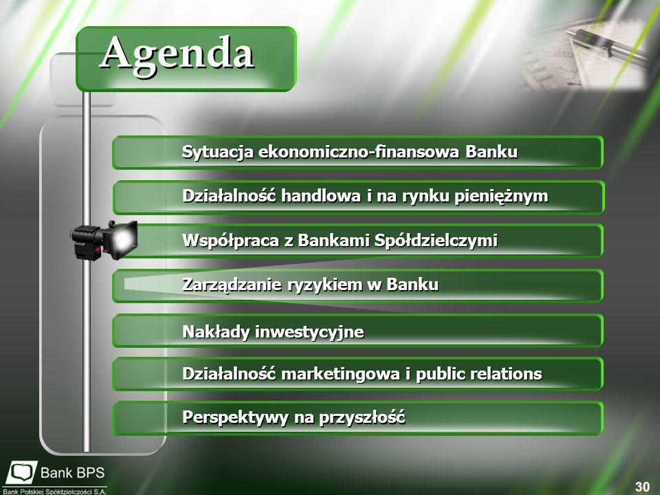 30 Sytuacja ekonomiczno-finansowa Banku Działalność handlowa i na rynku pieniężnym Współpraca z Bankami Spółdzielczymi Zarządzanie ryzykiem w Banku Nakłady inwestycyjne Działalność marketingowa i public relations Perspektywy na przyszłość Agenda