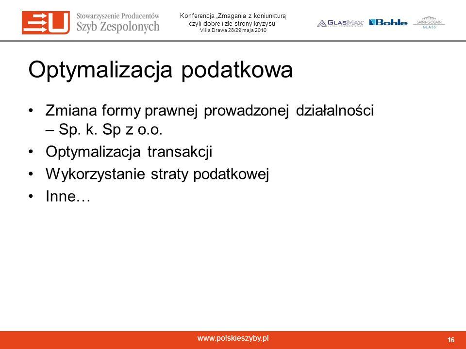 Konferencja Zmagania z koniunkturą czyli dobre i złe strony kryzysu Villa Drawa 28/29 maja 2010 www.polskieszyby.pl Optymalizacja podatkowa Zmiana for