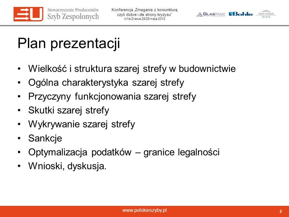 Konferencja Zmagania z koniunkturą czyli dobre i złe strony kryzysu Villa Drawa 28/29 maja 2010 www.polskieszyby.pl Plan prezentacji Wielkość i strukt