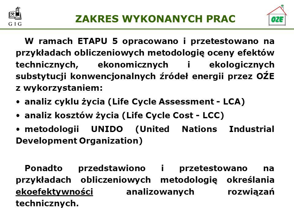 ZAKRES WYKONANYCH PRAC W ramach ETAPU 5 opracowano i przetestowano na przykładach obliczeniowych metodologię oceny efektów technicznych, ekonomicznych