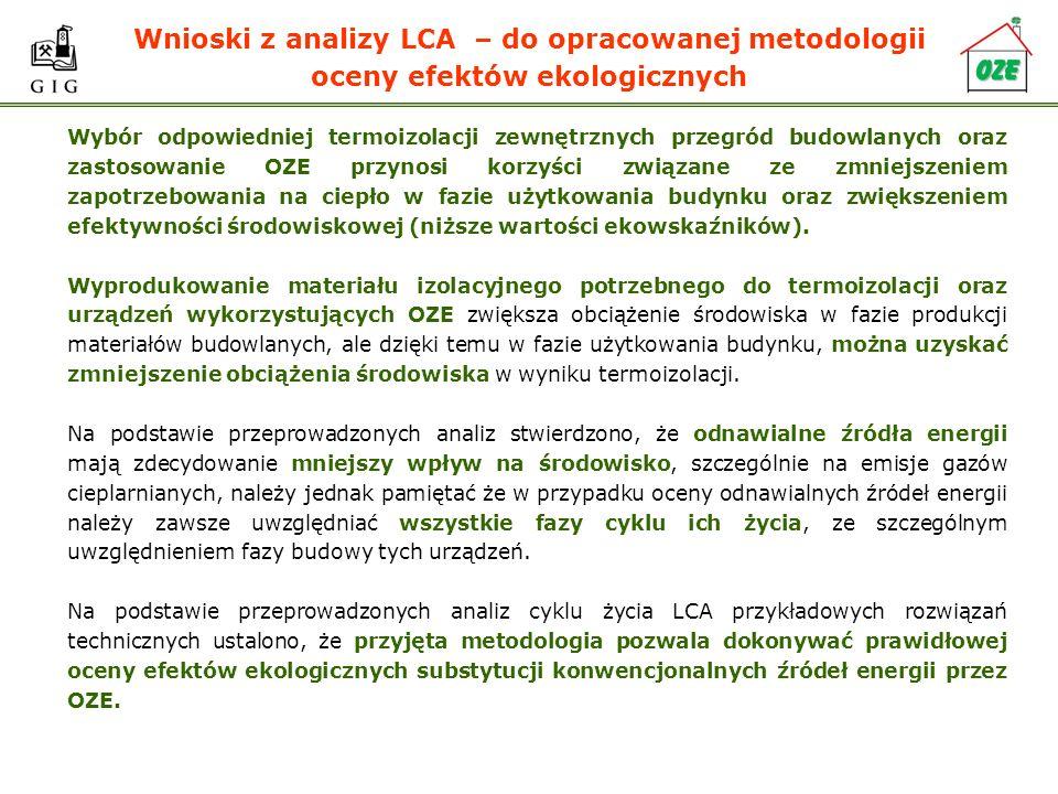 Wnioski z analizy LCA – do opracowanej metodologii oceny efektów ekologicznych Wybór odpowiedniej termoizolacji zewnętrznych przegród budowlanych oraz