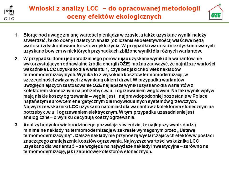 Wnioski z analizy LCC – do opracowanej metodologii oceny efektów ekologicznych 1.Biorąc pod uwagę zmianę wartości pieniądza w czasie, a także uzyskane