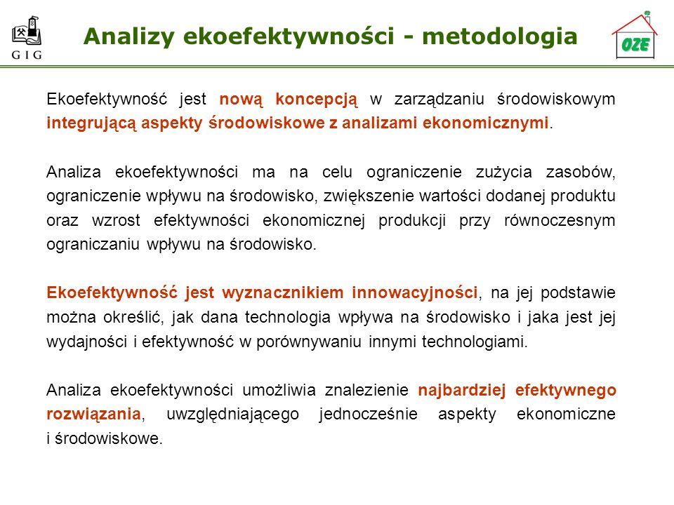 Analizy ekoefektywności - metodologia Ekoefektywność jest nową koncepcją w zarządzaniu środowiskowym integrującą aspekty środowiskowe z analizami ekon