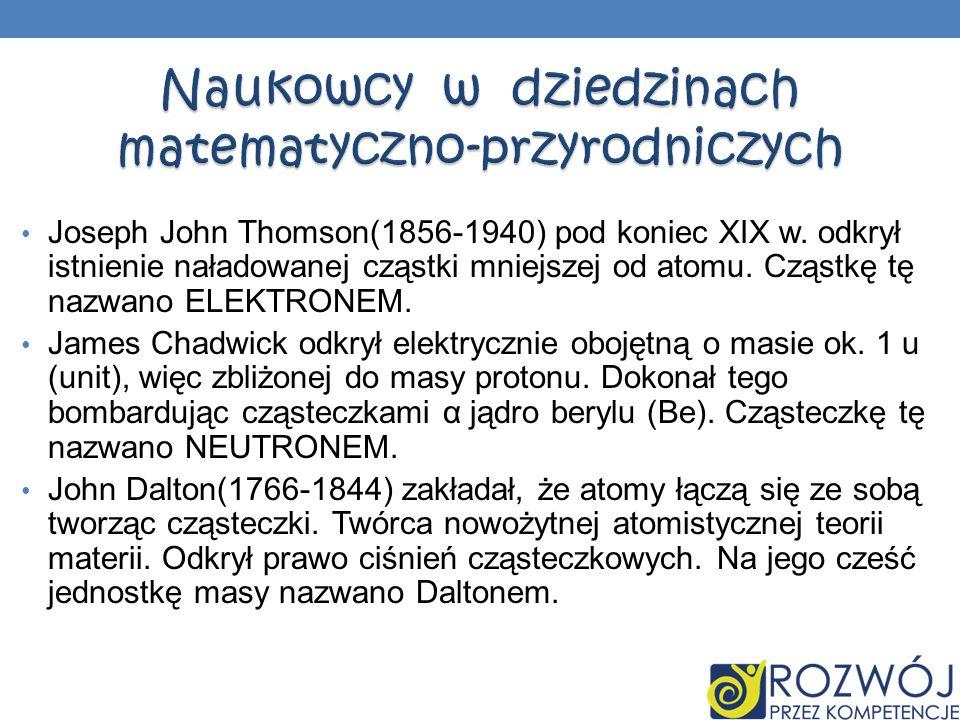 Joseph John Thomson(1856-1940) pod koniec XIX w. odkrył istnienie naładowanej cząstki mniejszej od atomu. Cząstkę tę nazwano ELEKTRONEM. James Chadwic