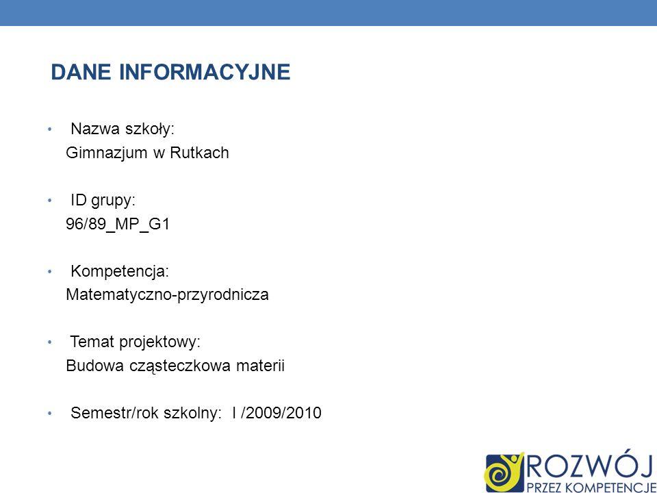 Nazwa szkoły: Gimnazjum w Rutkach ID grupy: 96/89_MP_G1 Kompetencja: Matematyczno-przyrodnicza Temat projektowy: Budowa cząsteczkowa materii Semestr/r
