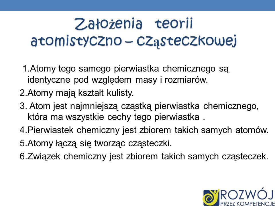 1.Atomy tego samego pierwiastka chemicznego są identyczne pod względem masy i rozmiarów. 2.Atomy mają kształt kulisty. 3. Atom jest najmniejszą cząstk