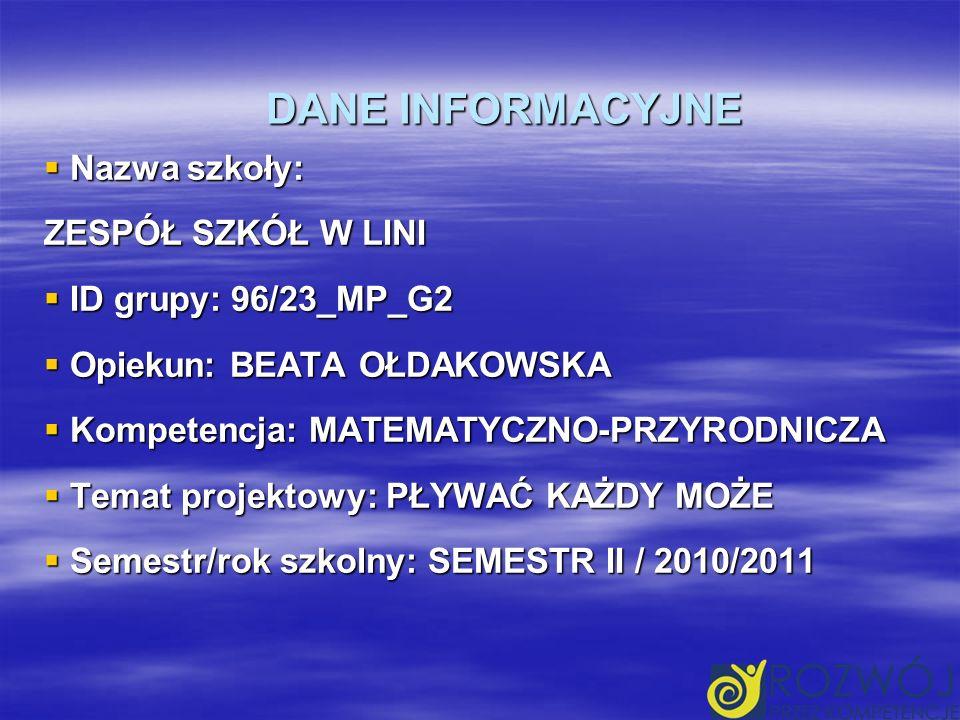 DANE INFORMACYJNE Nazwa szkoły: Nazwa szkoły: ZESPÓŁ SZKÓŁ W LINI ID grupy: 96/23_MP_G2 ID grupy: 96/23_MP_G2 Opiekun: BEATA OŁDAKOWSKA Opiekun: BEATA OŁDAKOWSKA Kompetencja: MATEMATYCZNO-PRZYRODNICZA Kompetencja: MATEMATYCZNO-PRZYRODNICZA Temat projektowy: PŁYWAĆ KAŻDY MOŻE Temat projektowy: PŁYWAĆ KAŻDY MOŻE Semestr/rok szkolny: SEMESTR II / 2010/2011 Semestr/rok szkolny: SEMESTR II / 2010/2011