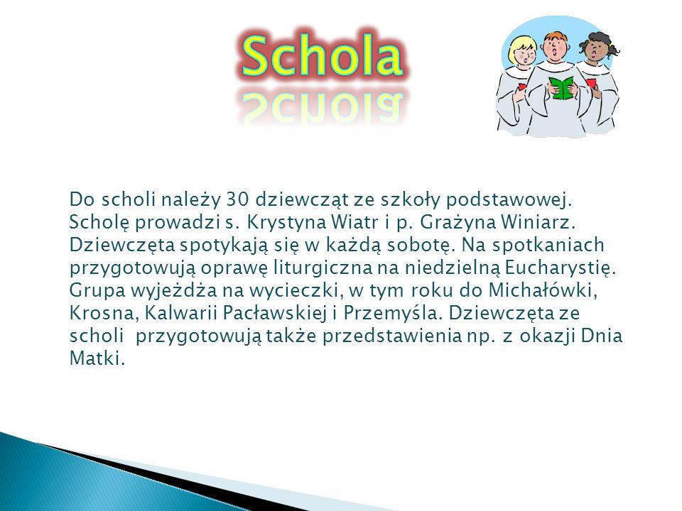 Do scholi należy 30 dziewcząt ze szkoły podstawowej. Scholę prowadzi s. Krystyna Wiatr i p. Grażyna Winiarz. Dziewczęta spotykają się w każdą sobotę.