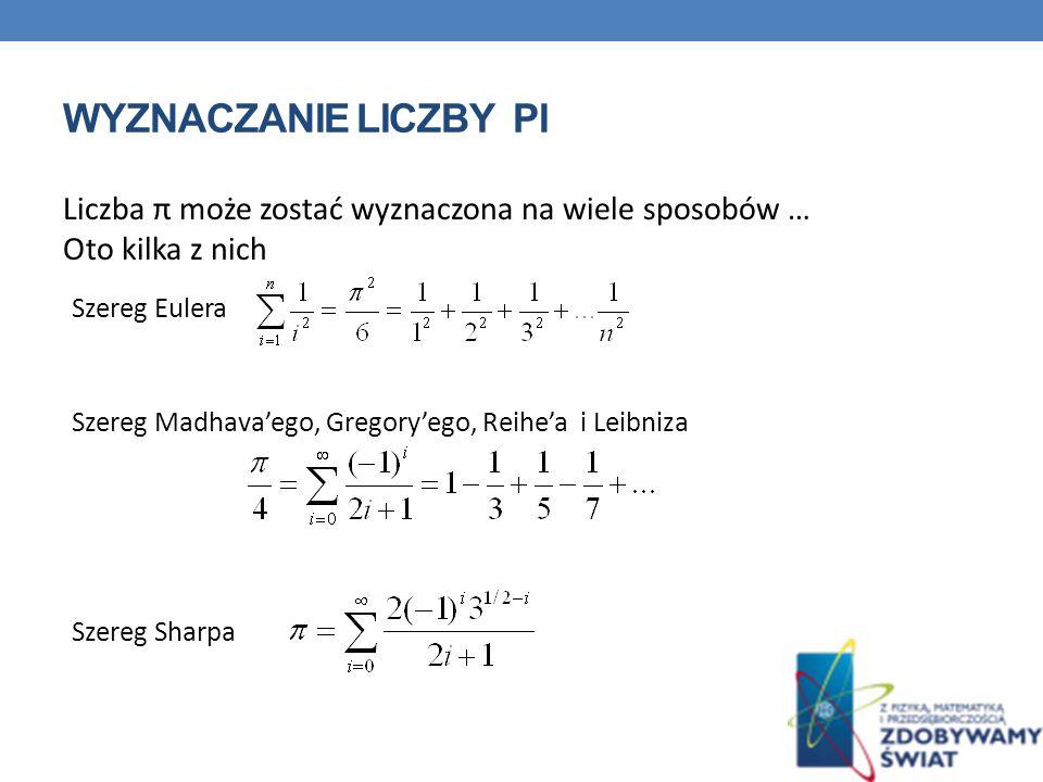 WYZNACZANIE LICZBY PI Liczba π może zostać wyznaczona na wiele sposobów … Oto kilka z nich Szereg Eulera Szereg Madhavaego, Gregoryego, Reihea i Leibniza Szereg Sharpa