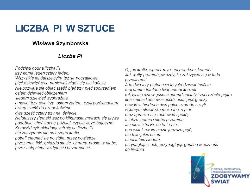 LICZBA PI W SZTUCE Wisława Szymborska Liczba Pi Podziwu godna liczba Pi trzy koma jeden cztery jeden.