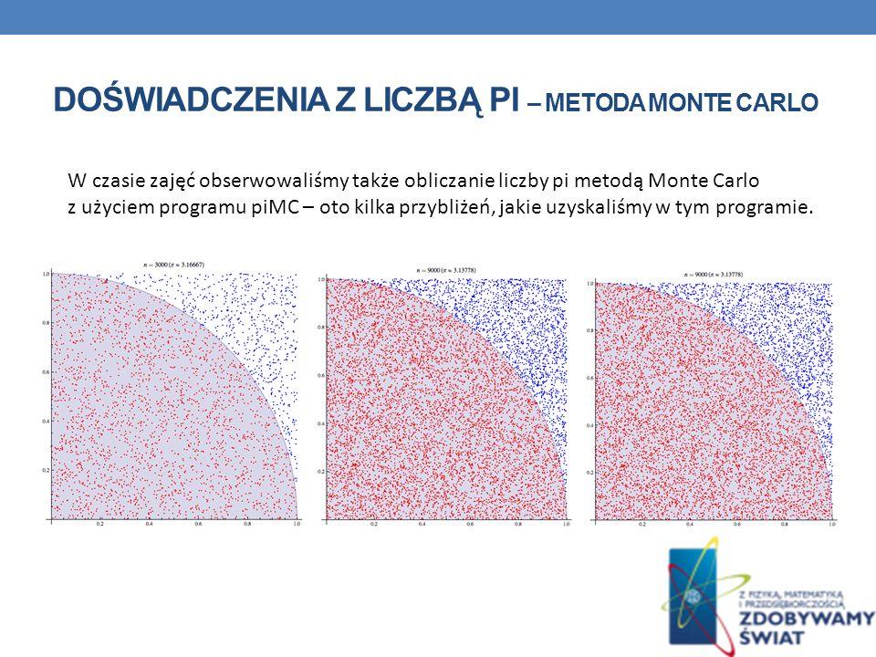 W czasie zajęć obserwowaliśmy także obliczanie liczby pi metodą Monte Carlo z użyciem programu piMC – oto kilka przybliżeń, jakie uzyskaliśmy w tym pr
