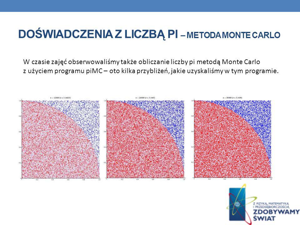 DOŚWIADCZENIA Z LICZBĄ PI – METODA MONTE CARLO W czasie zajęć obserwowaliśmy także obliczanie liczby pi metodą Monte Carlo z użyciem programu piMC – oto kilka przybliżeń, jakie uzyskaliśmy w tym programie.