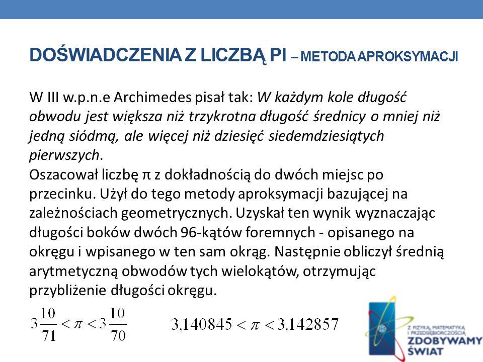 DOŚWIADCZENIA Z LICZBĄ PI – METODA APROKSYMACJI W III w.p.n.e Archimedes pisał tak: W każdym kole długość obwodu jest większa niż trzykrotna długość średnicy o mniej niż jedną siódmą, ale więcej niż dziesięć siedemdziesiątych pierwszych.