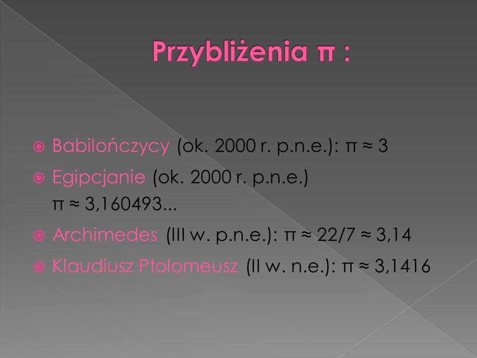 Babilończycy (ok. 2000 r. p.n.e.): π 3 Egipcjanie (ok. 2000 r. p.n.e.) π 3,160493... Archimedes (III w. p.n.e.): π 22/7 3,14 Klaudiusz Ptolomeusz (II