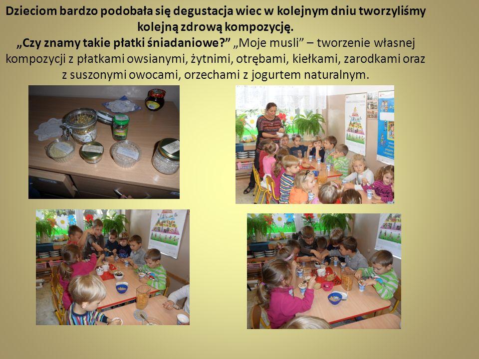 Dzieciom bardzo podobała się degustacja wiec w kolejnym dniu tworzyliśmy kolejną zdrową kompozycję. Czy znamy takie płatki śniadaniowe? Moje musli – t