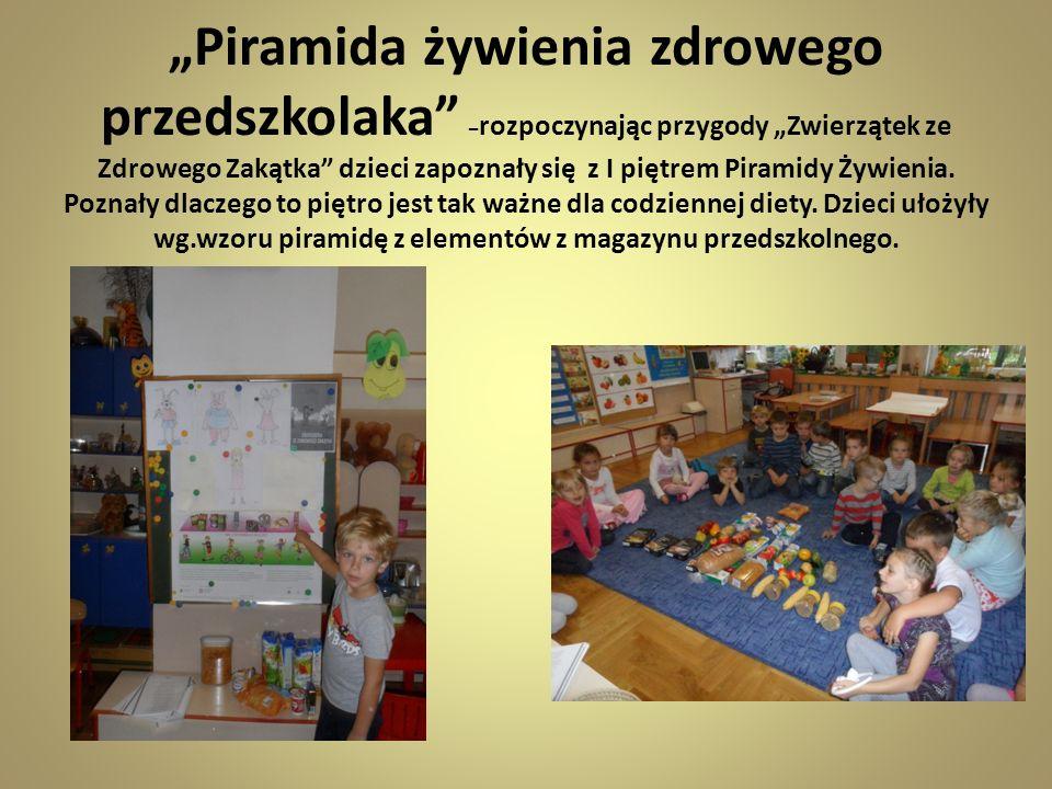 Piramida żywienia zdrowego przedszkolaka – rozpoczynając przygody Zwierzątek ze Zdrowego Zakątka dzieci zapoznały się z I piętrem Piramidy Żywienia.