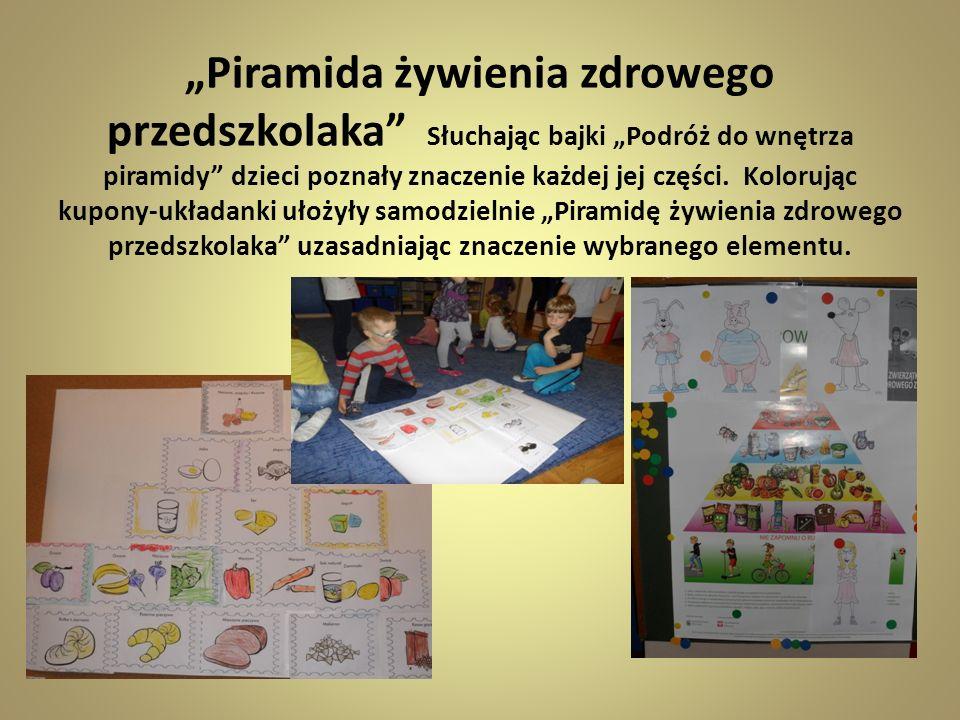 Piramida żywienia zdrowego przedszkolaka Słuchając bajki Podróż do wnętrza piramidy dzieci poznały znaczenie każdej jej części. Kolorując kupony-układ