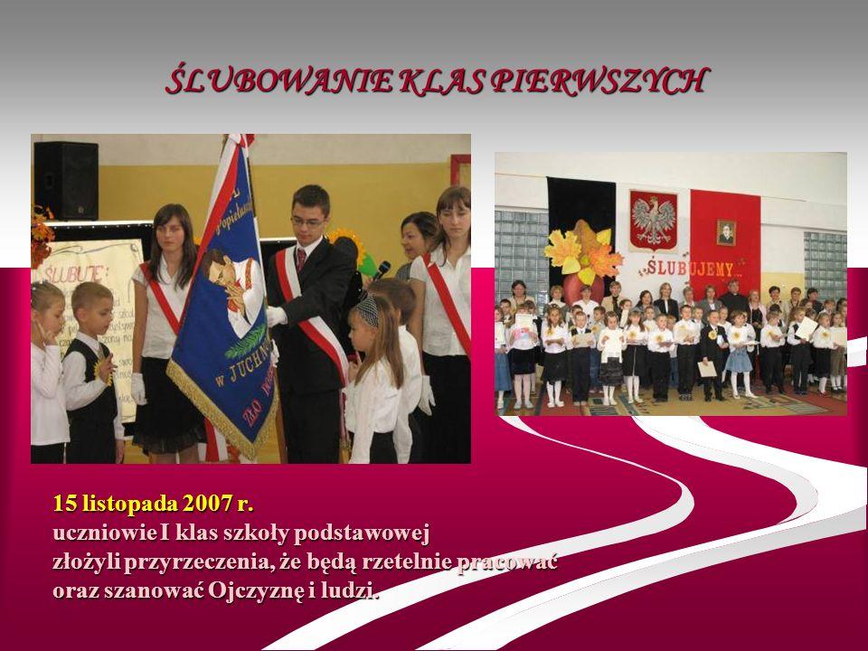 ŚLUBOWANIE KLAS PIERWSZYCH 15 listopada 2007 r. uczniowie I klas szkoły podstawowej złożyli przyrzeczenia, że będą rzetelnie pracować oraz szanować Oj