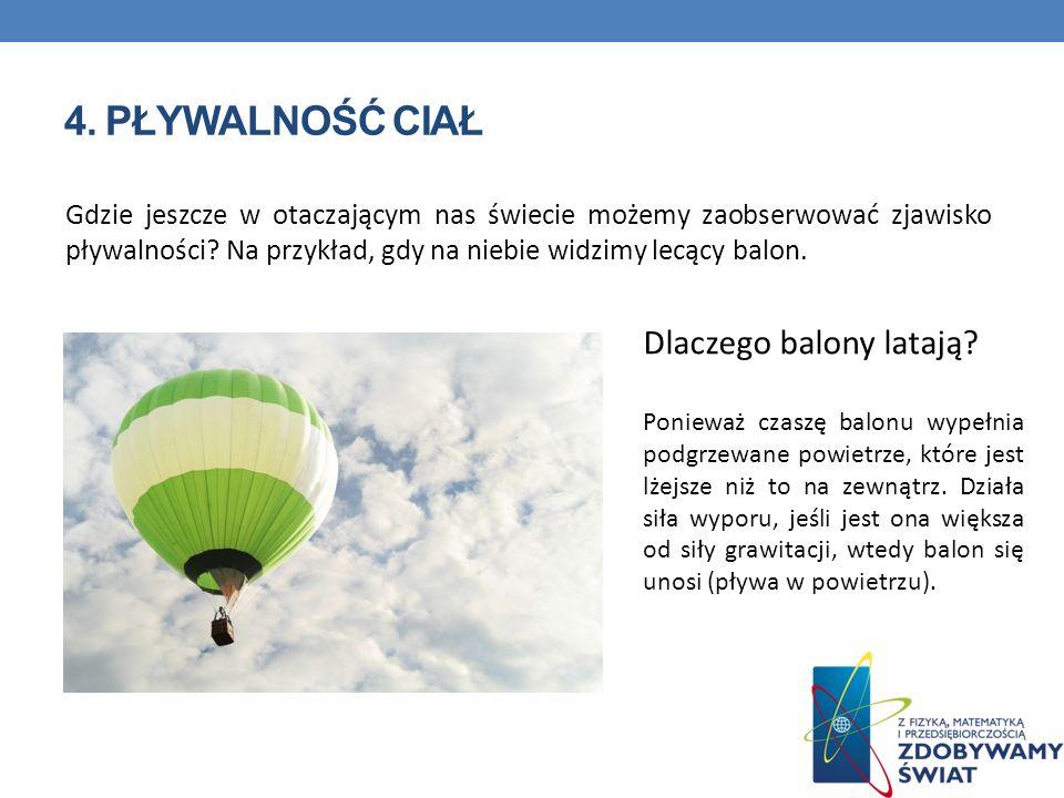 4. PŁYWALNOŚĆ CIAŁ Gdzie jeszcze w otaczającym nas świecie możemy zaobserwować zjawisko pływalności? Na przykład, gdy na niebie widzimy lecący balon.