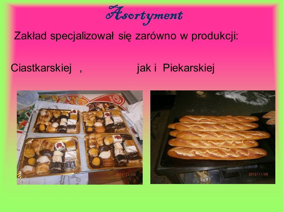 Asortyment Zakład specjalizował się zarówno w produkcji: Ciastkarskiej, jak i Piekarskiej