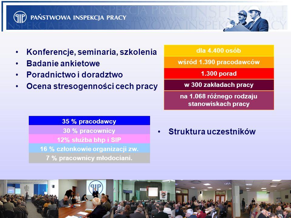 11 Konferencje, seminaria, szkolenia dla 4.400 osób Badanie ankietowe wśród 1.390 pracodawców Poradnictwo i doradztwo 1.300 porad Ocena stresogenności