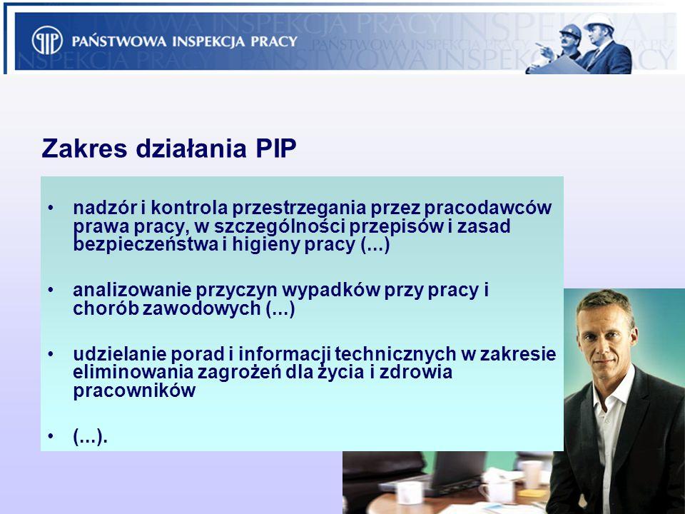 2 Zakres działania PIP nadzór i kontrola przestrzegania przez pracodawców prawa pracy, w szczególności przepisów i zasad bezpieczeństwa i higieny prac