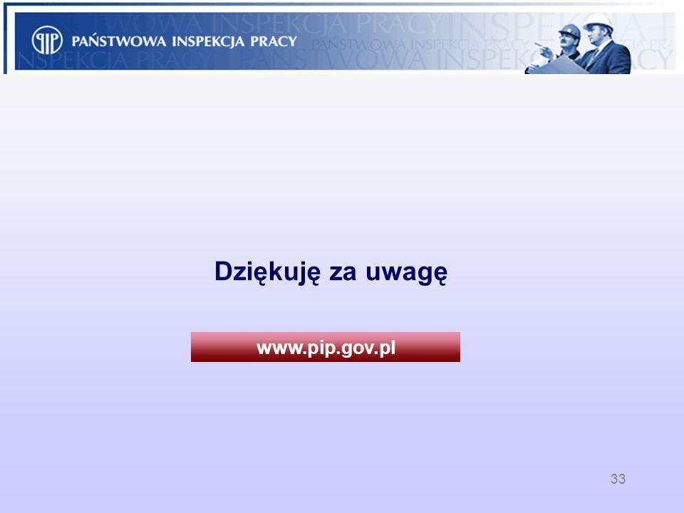 33 Dziękuję za uwagę www.pip.gov.pl