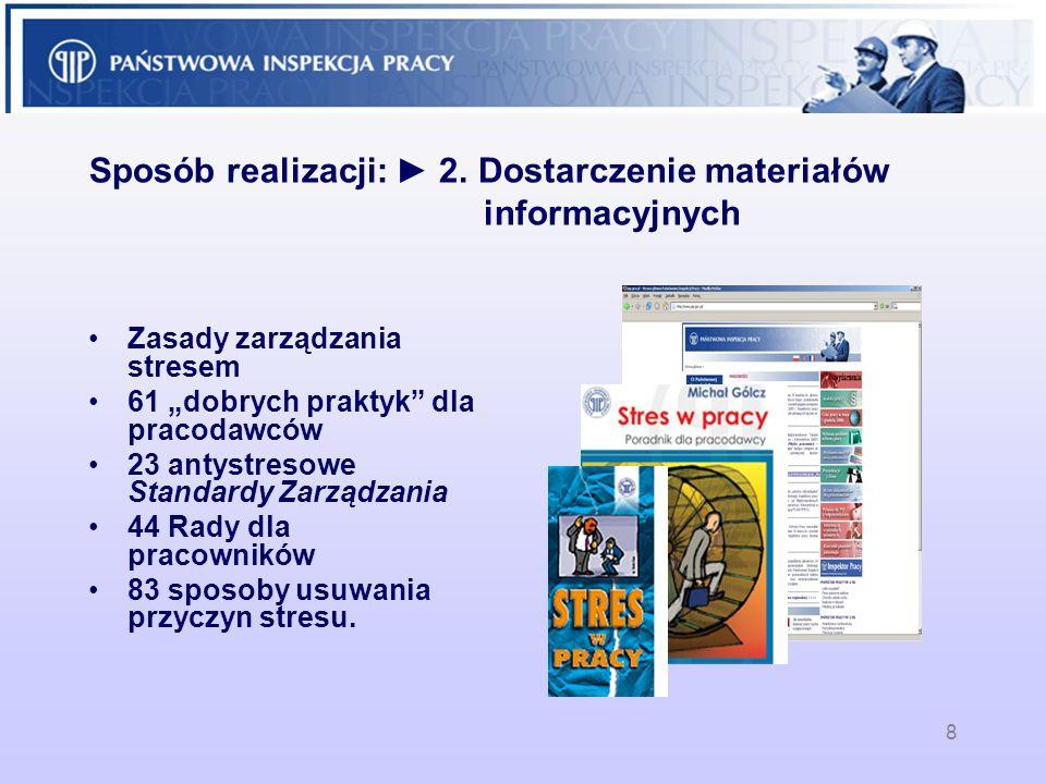 8 Sposób realizacji: 2. Dostarczenie materiałów informacyjnych Zasady zarządzania stresem 61 dobrych praktyk dla pracodawców 23 antystresowe Standardy