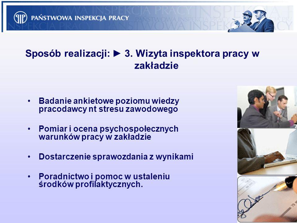 9 Sposób realizacji: 3. Wizyta inspektora pracy w zakładzie Badanie ankietowe poziomu wiedzy pracodawcy nt stresu zawodowego Pomiar i ocena psychospoł