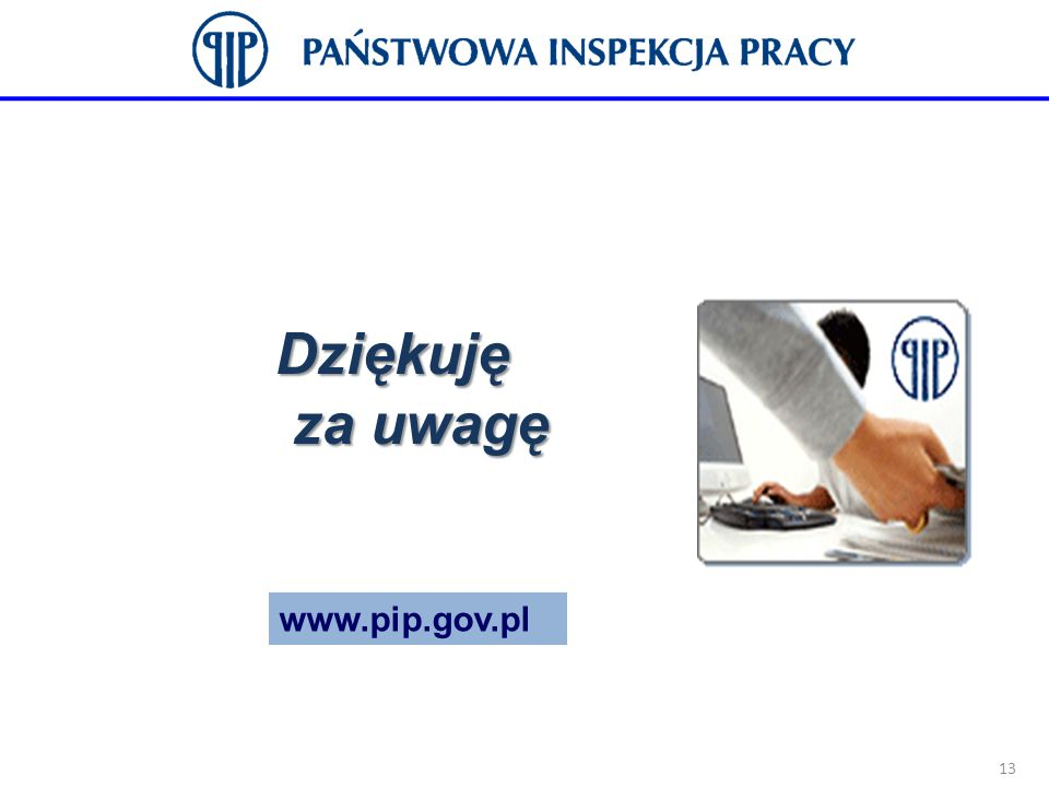 Dziękuję za uwagę 13 www.pip.gov.pl