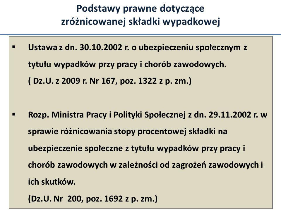 Podstawy prawne dotyczące zróżnicowanej składki wypadkowej Ustawa z dn. 30.10.2002 r. o ubezpieczeniu społecznym z tytułu wypadków przy pracy i chorób