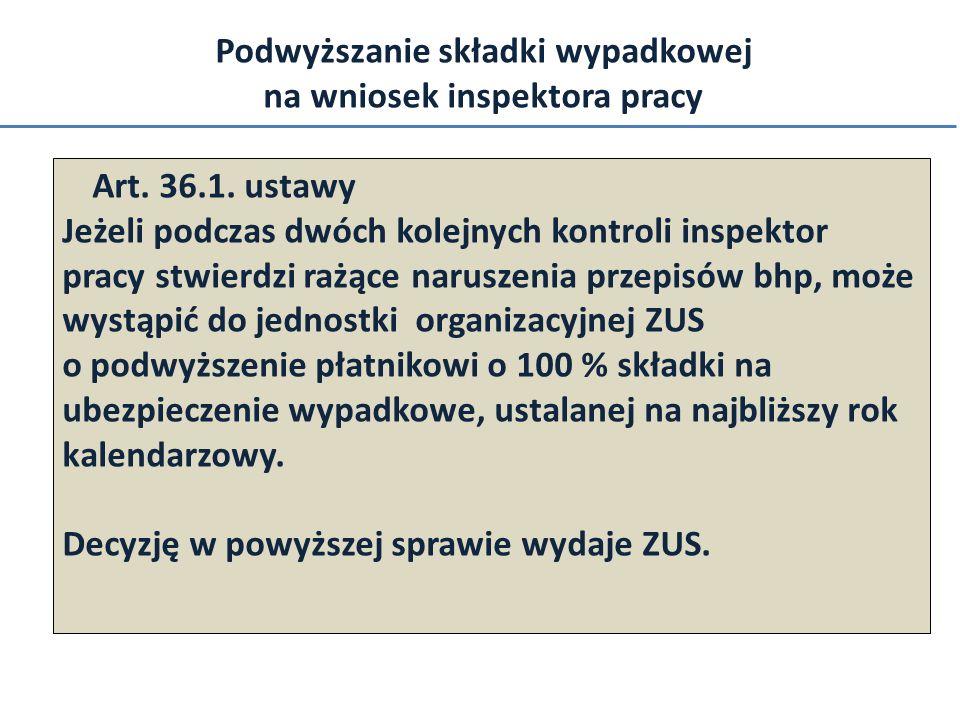 Podwyższanie składki wypadkowej na wniosek inspektora pracy Art. 36.1. ustawy Jeżeli podczas dwóch kolejnych kontroli inspektor pracy stwierdzi rażące