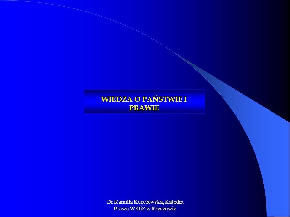 Dr Kamilla Kurczewska, Katedra Prawa WSIiZ w Rzeszowie WIEDZA O PAŃSTWIE I PRAWIE