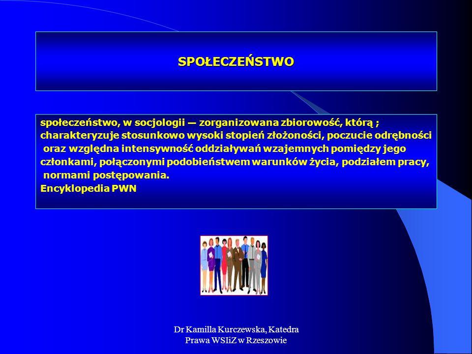 Dr Kamilla Kurczewska, Katedra Prawa WSIiZ w Rzeszowie SPOŁECZEŃSTWO społeczeństwo, w socjologii zorganizowana zbiorowość, którą ; charakteryzuje stos