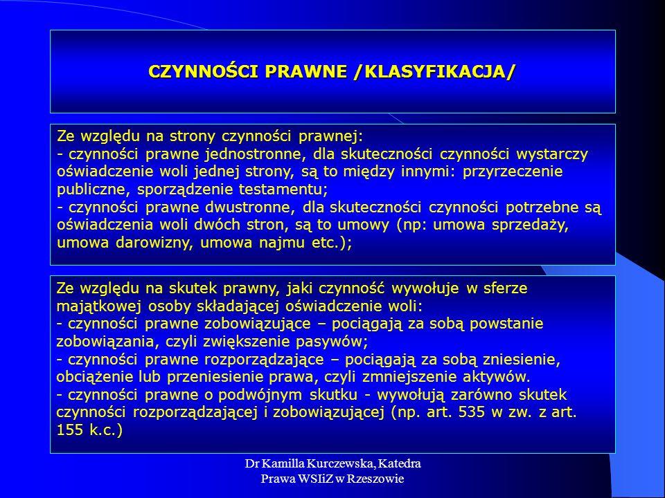 Dr Kamilla Kurczewska, Katedra Prawa WSIiZ w Rzeszowie CZYNNOŚCI PRAWNE /KLASYFIKACJA/ Ze względu na strony czynności prawnej: - czynności prawne jedn