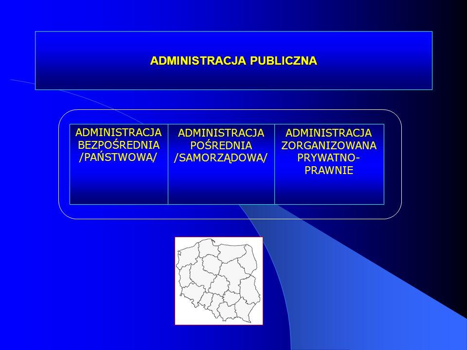 ADMINISTRACJA PUBLICZNA ADMINISTRACJA BEZPOŚREDNIA /PAŃSTWOWA/ ADMINISTRACJA POŚREDNIA /SAMORZĄDOWA/ ADMINISTRACJA ZORGANIZOWANA PRYWATNO- PRAWNIE