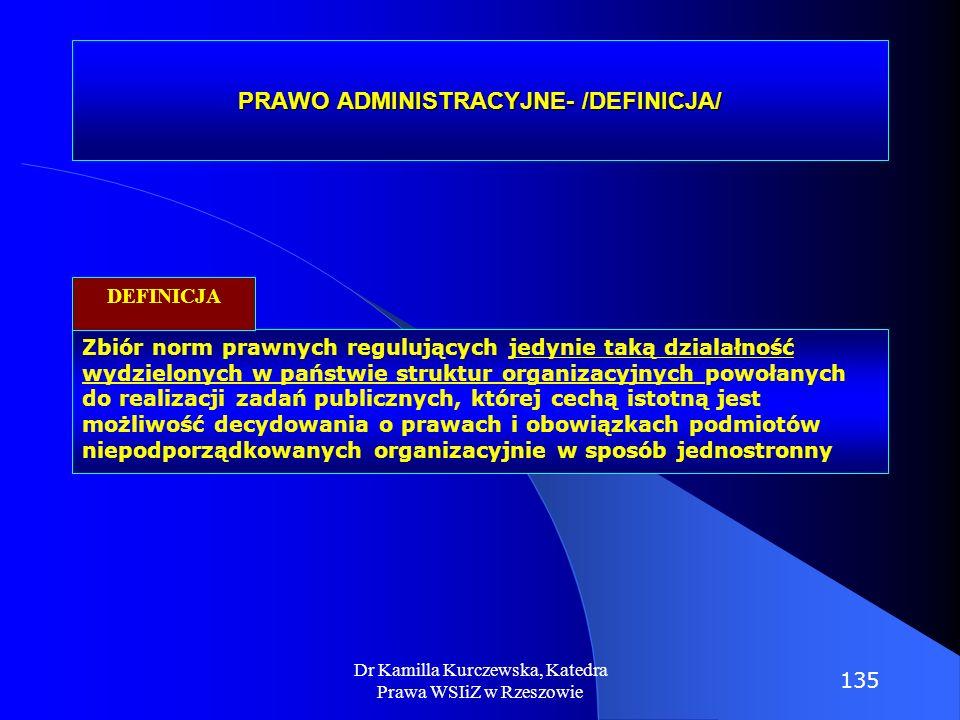 PRAWO ADMINISTRACYJNE- /DEFINICJA/ Zbiór norm prawnych regulujących jedynie taką dzialałność wydzielonych w państwie struktur organizacyjnych powołany