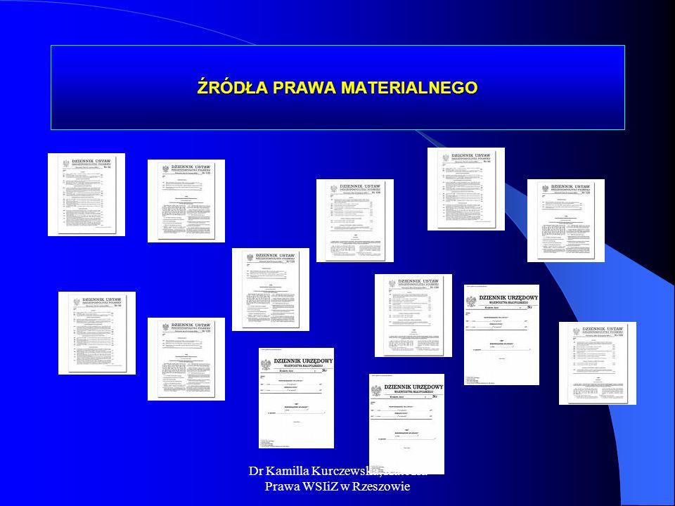 ŹRÓDŁA PRAWA MATERIALNEGO Dr Kamilla Kurczewska, Katedra Prawa WSIiZ w Rzeszowie