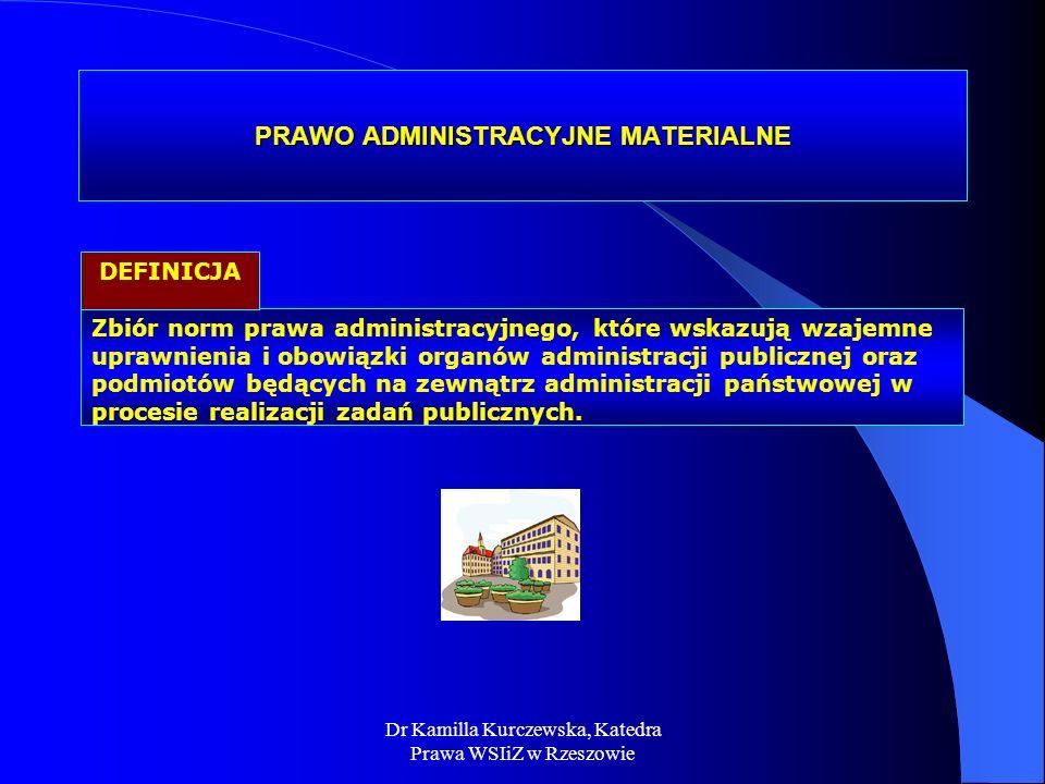 PRAWO ADMINISTRACYJNE MATERIALNE Zbiór norm prawa administracyjnego, które wskazują wzajemne uprawnienia i obowiązki organów administracji publicznej