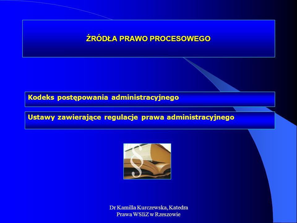 Ustawy zawierające regulacje prawa administracyjnego Kodeks postępowania administracyjnego ŹRÓDŁA PRAWO PROCESOWEGO Dr Kamilla Kurczewska, Katedra Pra