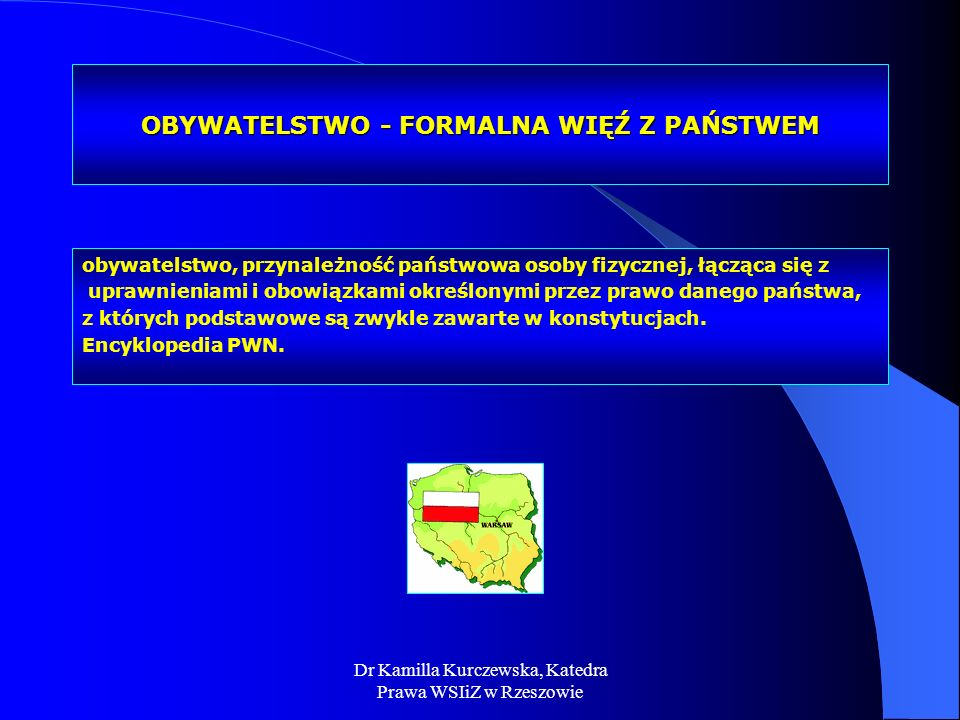 Dr Kamilla Kurczewska, Katedra Prawa WSIiZ w Rzeszowie OBYWATELSTWO - FORMALNA WIĘŹ Z PAŃSTWEM obywatelstwo, przynależność państwowa osoby fizycznej,