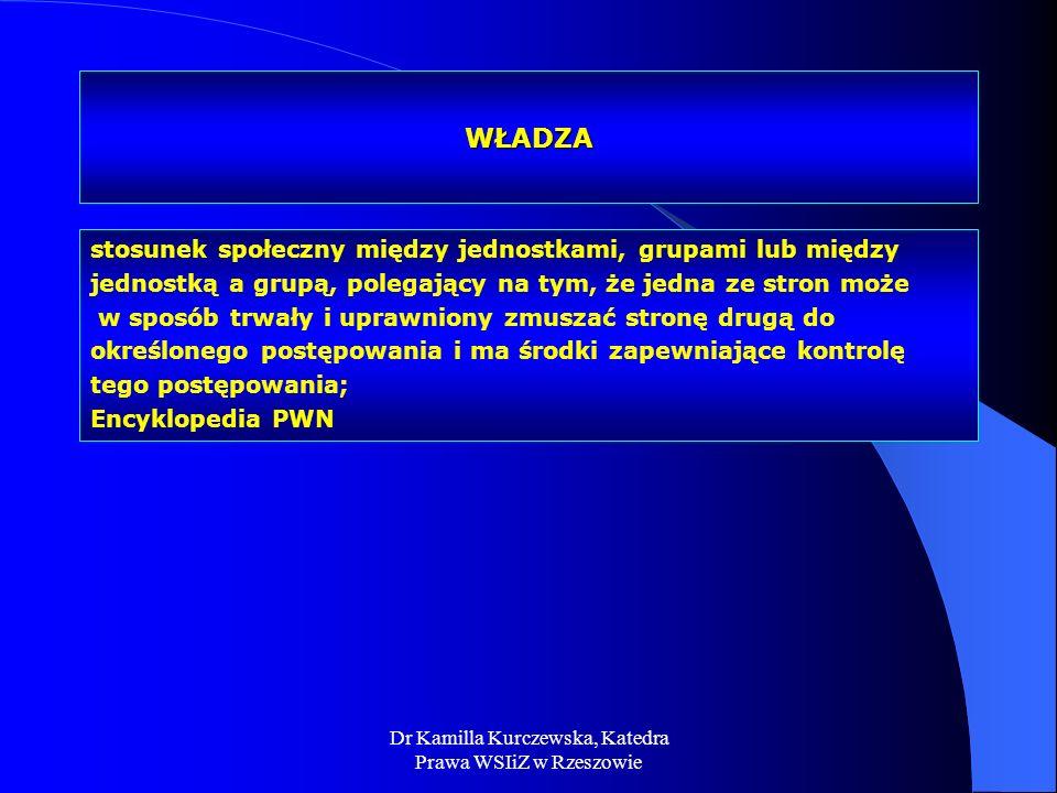 Dr Kamilla Kurczewska, Katedra Prawa WSIiZ w Rzeszowie WŁADZA stosunek społeczny między jednostkami, grupami lub między jednostką a grupą, polegający