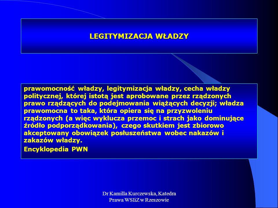 Dr Kamilla Kurczewska, Katedra Prawa WSIiZ w Rzeszowie LEGITYMIZACJA WŁADZY prawomocność władzy, legitymizacja władzy, cecha władzy politycznej, które