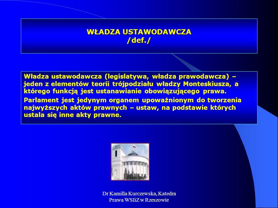 Dr Kamilla Kurczewska, Katedra Prawa WSIiZ w Rzeszowie WŁADZA USTAWODAWCZA /def./ Władza ustawodawcza (legislatywa, władza prawodawcza) – jeden z elem