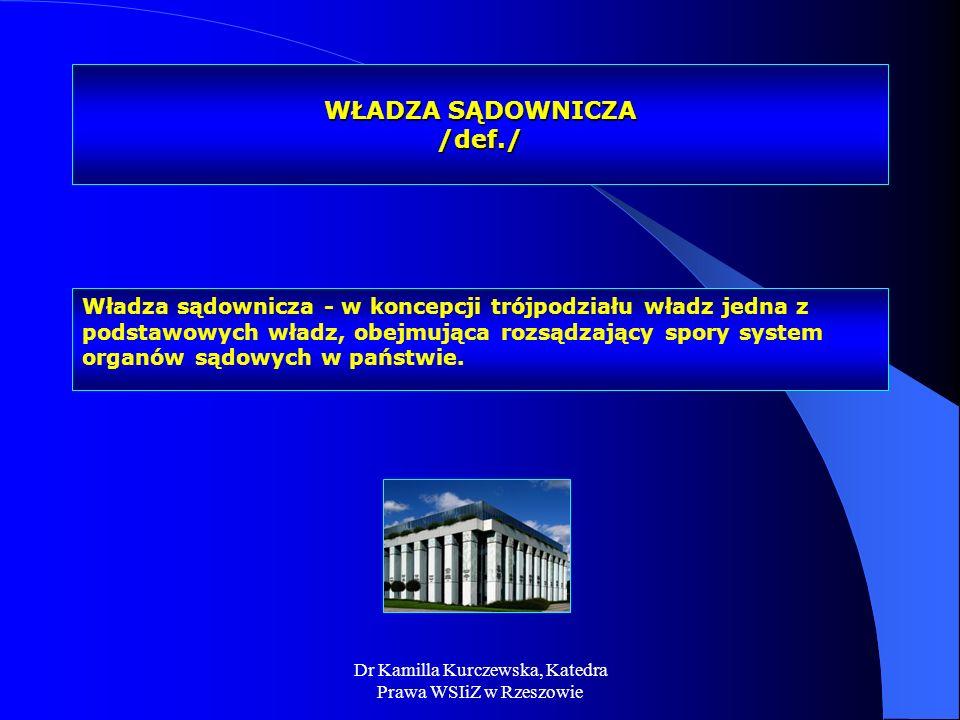 Dr Kamilla Kurczewska, Katedra Prawa WSIiZ w Rzeszowie WŁADZA SĄDOWNICZA /def./ Władza sądownicza - w koncepcji trójpodziału władz jedna z podstawowyc